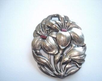 Flower Brooch Ruby Rhinestones Silver Tone
