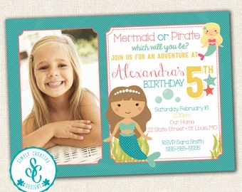 Mermaid or Pirates Birthday Invitation