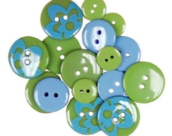 Favorite Findings Flatback Buttons----Turquoise Flowers----New in Package