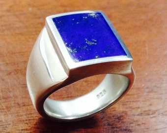 Men's Lapis Lazuli Heavy Sterling Silver Ring