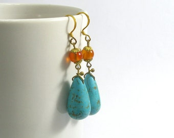 Carnelian And Turquoise Dangle Earrings with Silver Gold Plated Hooks
