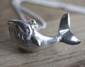 1960s Vintage Humpback Whale Locket Necklace, Perfume Pendant, Pill Locket Necklace, Vintage Silver Whale Jewelry