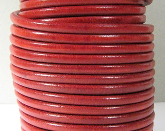 Distressed Red European 5mm Round Leather - Choose Your Length