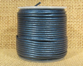 1.5mm Round Indian Leather - Blue Metallic - 2127