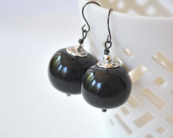 Jet Black Earrings, Hollow Blown Glass Earrings, Light Weight Earrings, Large Earrings