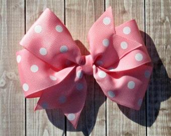 Girls Pink and White Polka Dots Pinwheel Hair Bow