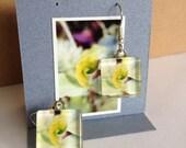 Glass Tile Photo Earrings - Green Leaf