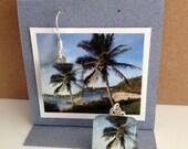 Glass Tile Photo Earrings - Waimea Bay