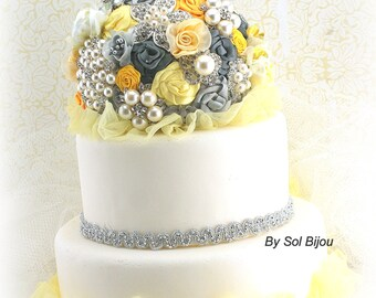 Cake Topper, Yellow, Silver, Pewter, Grey, Brooch, Vintage Wedding, Elegant, Jeweled, Cake Decoration, Lace Topper, Pearls, Crystals