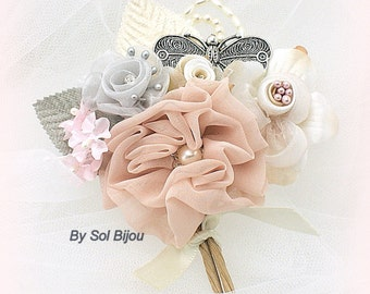 Boutonniere, Brooch, Blush, Pink, Ivory, Silver, Gray, Groom, Corsage, Butterfly, Elegant Wedding, Vintage Style, Pearls