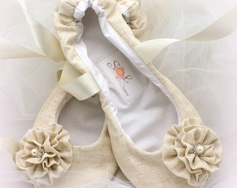 Ballet Flats, Wedding, Bridal, Shoes, Flats, Ballerina Slippers, Ivory, Crystals, Rustic, Pearls, Flower Girl, Vintage Style, Elegant