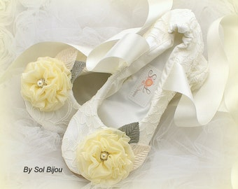 Ballet Flats,  Ivory, Gray, Yellow, Bridal, Elegant Wedding, Ballerina Slippers, Maid of Honor, Spring , Flower Girl,Lace, Crystals, Pearls
