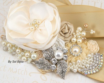 Sash, Tan, Champagne, Beige, Gold, Ivory, Elegant Wedding,Bridal, Vintage Style, Maid of Honor, Pearls, Crystals, Brooch, Lace, Gatsby Style