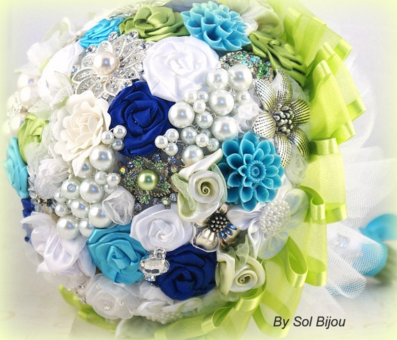 Brooch Bouquet, Turquoise, Lime Green, Royal Blue, White, Bridal, Wedding, Jeweled, Pearls, Crystals, Tulle, Elegant, Outdoor Wedding