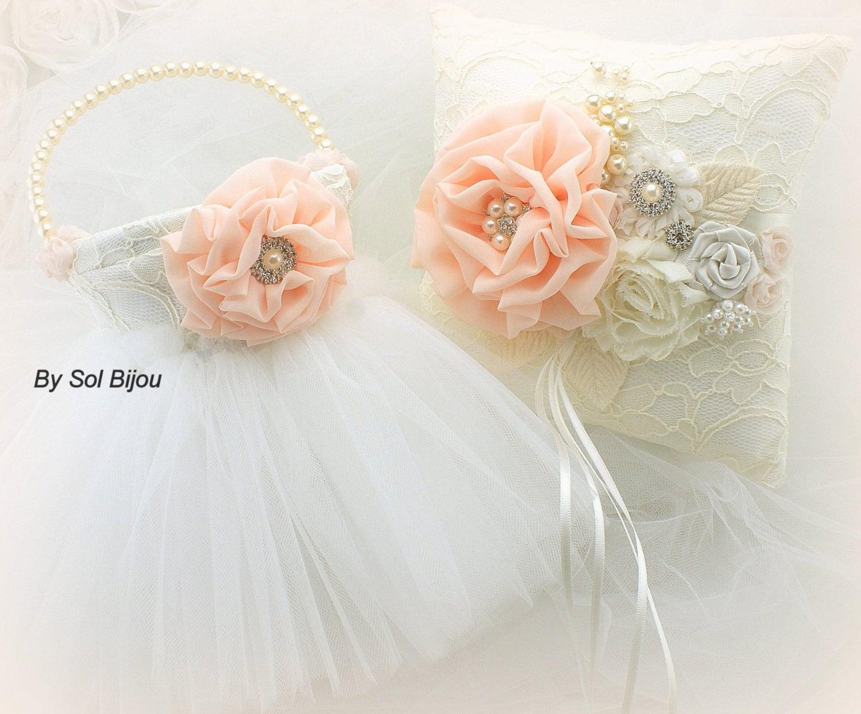 Ring Bearer Pillow Flower Girl BasketCoralIvoryPeach