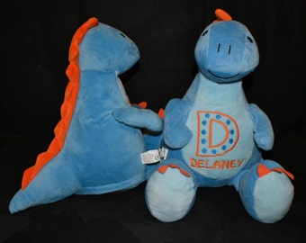 Blue Dino Dinosaur Birth Announcement Baby Keepsake Plush Stuffed Animal Cubbie Personalized