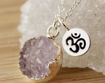Light Purple Druzy and Ohm Charm Necklace - Yogi Jewelry - Zen Style