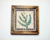 Handmade Mosaic with marble tiles- home decor - little plant marble mosaic