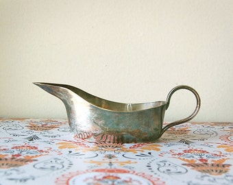 Vintage Silver Primitive Creamer or Gravy Boat for Thanksgiving Table with Elegant Handle and Patina Early 1900s
