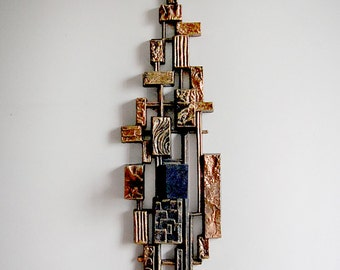 Vintage Mid Century Brutalist Wall Candle Holder Sconce of Metallic Bronze and Copper Blocks in Faux Carved Relief