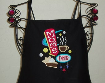 Embroidered Apron with saying Mom's Diner- color options available