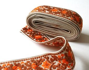 Orange Brown Vintage Upholstery Ribbon Trim Floral Scroll Design