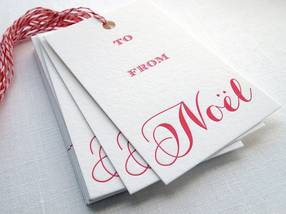 SALE Letterpress Gift Tags - Noël Calligraphy Set of 10