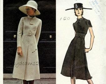 Vintage 1970s Zip Front Coat Dress Pattern Belinda Bellville Wide Buttoned Belt Standing Collar Vogue 2473 Bust 36 UNCUT