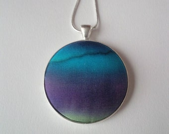 Hand Painted Silk Pendant in Blue and and Purple