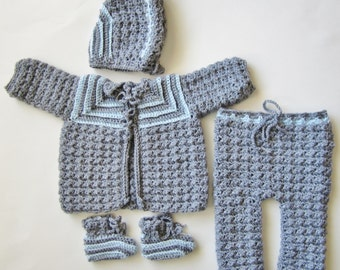Coming Home Outfit, Newborn Crocheted Sweater Set, Baby Boy, Blue and Grey, Layette, Shell Stitch Baby Outfit, Going Home Clothes