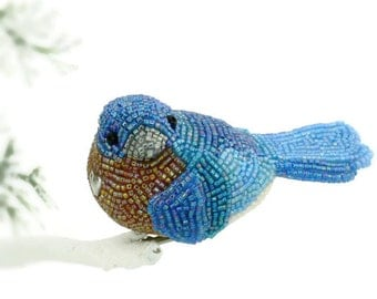 Bluebird Ornament Beaded Eastern Bluebird of Happiness Clip-On Decoration Holiday Decoration Housewarming Gift *READY TO SHIP