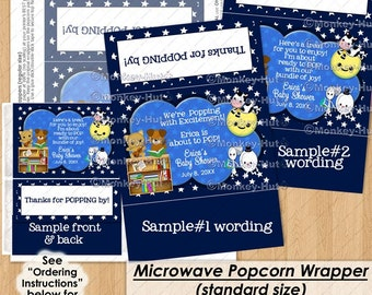 Nursery Rhyme Baby Shower Popcorn Wrapper / Ready to POP Thank You favors / microwave popcorn bag covers / Personalized DIGITAL PDF file