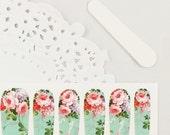 Haute High Tea Nail Wraps - lumière roses & lavande fleurs / menthe vert fond