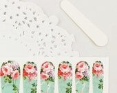 Haute High Tea Nail Wraps - Light Pink & Lavender Flowers / Mint Green Background
