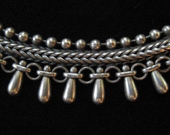 Pierre Lorion Sylvia Karels PARIS Fringe Collar Necklace in Pewter