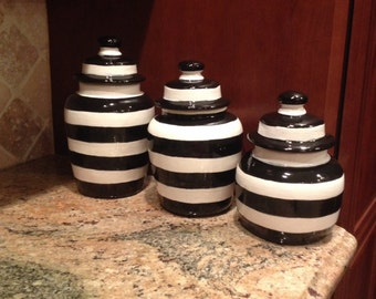 Ceramic clay black and white striped canister set for cookies, tea, coffee, sugar