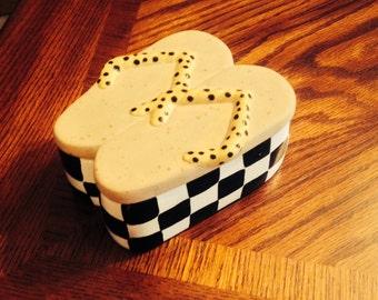 Black and White Yellow Polkadot Ceramic Clay Flipflop Box