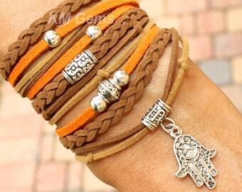 BOHEMIAN Wrap Bracelet - Pick SIZE / COLOR - Faux Suede Leather Chunky Gypsy Triple Boho Wrap Bracelet w/ Silver Hamsa Hand Charm - Usa 99