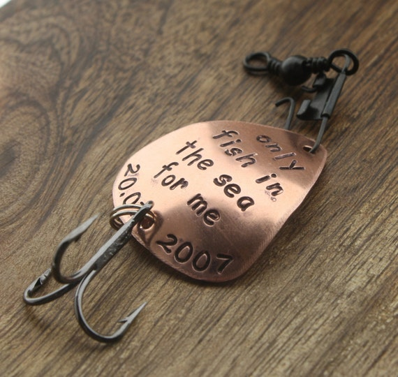 Only fish in the sea for me fishing lure husband gift for Engraved fishing lures