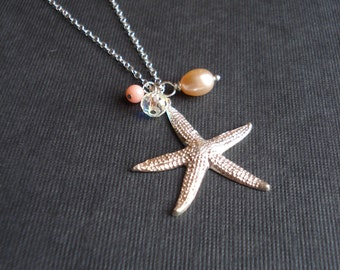 Starfish Necklace in Sterling Silver Coral Pearl Mediterranean Jewelry Mermaid Necklace Beach Wedding