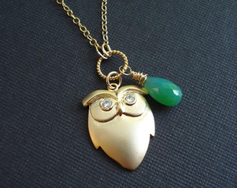 Gold Owl Necklace With Green Chalcedony Owl Jewelry Owl Pendant Long Chain Necklace Gold Filled Jewelry Modern Everyday Jewelry Teen Trend