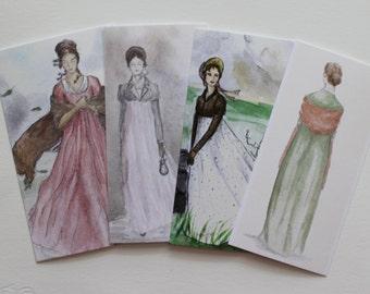 Set of 4 Jane Austen inspired bookmarks