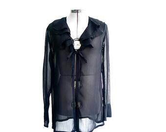 Vintage black chiffon blouse - sheer rayon tunic  top