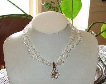 Free Shipping Austria Rare Multi Sphere SPARKLY Glitzy AB Crystals Signed 3 Rows Collar 1950s Necklace