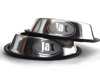 Personalized Stainless Steel Dog Bowl - Oval - Chrome - Stainless Steel