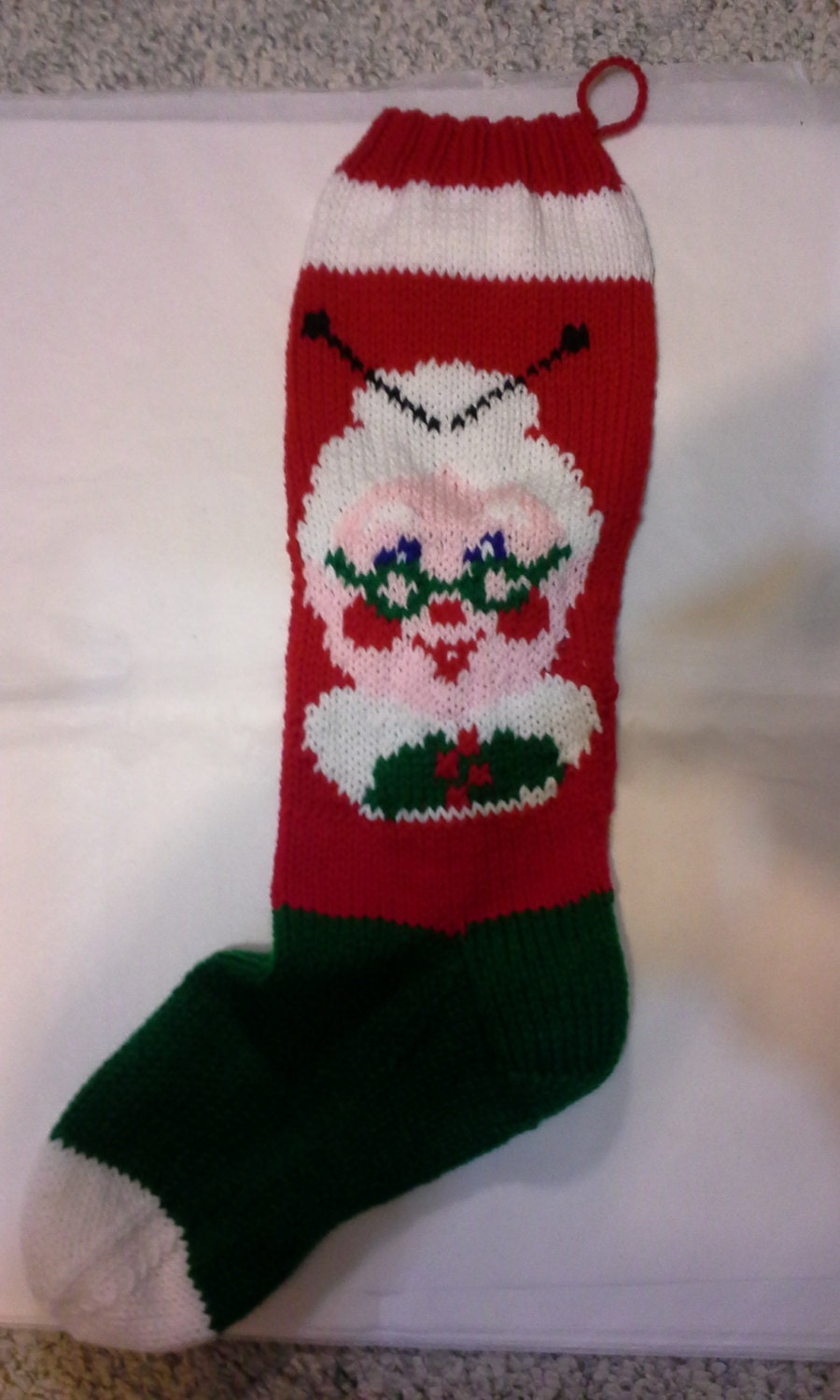 Hand knit Mrs. Santa Claus Christmas stocking Ready by corinnetom