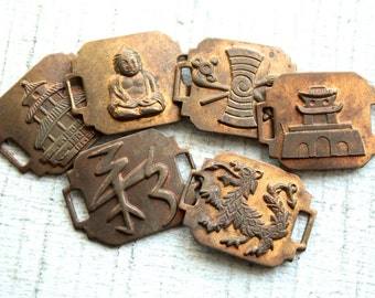 Lot of 5 Vintage 1940s Brass Stampings // 40s 50s Asian Themed Antiqued Connectors // Temple, Buddha, Zen // NOS Jewelry Supply