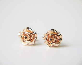 Rose Gold Rose Flower Post Earrings Simple Everyday Modern Stud Earrings