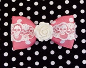 Vintage Rose Skull and Dots Hair Bow - Pink - Pinup - 50s - Rockabilly - Retro