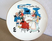 Vintage 60s Any Time is Cookie Time Plate Warranted 22K